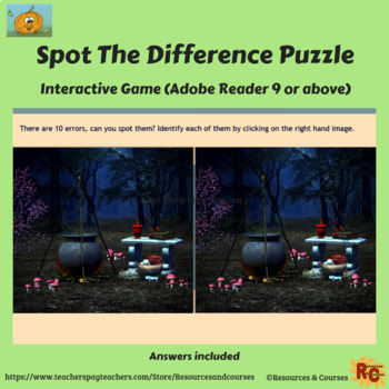 Halloween Interactive Spot the Difference Puzzles Grade 6-8