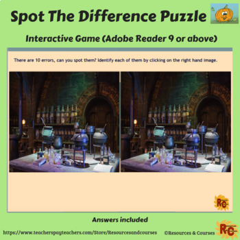 Halloween Interactive Spot the Difference Puzzles 6th-8th Grade