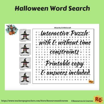 Halloween Interactive Word Search Grade 6-8