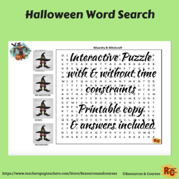 Halloween Interactive Word Search Puzzle 6th-8th Grade