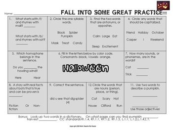Fall Halloween Math and Reading Activities