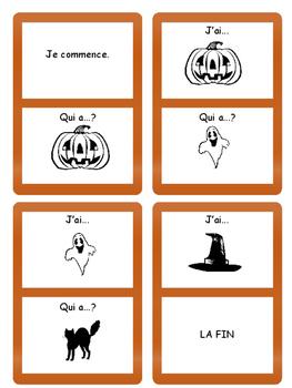 Halloween J'ai/Qui a ? Card Game- French Halloween Vocab