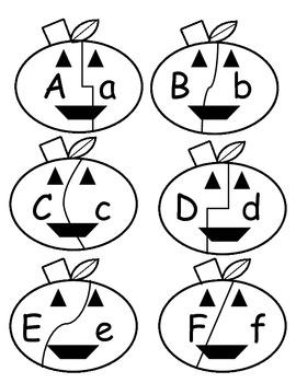 Halloween Jack O Lantern Alphabet Match