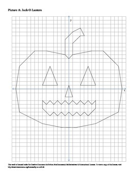 Halloween Jack-O-Lantern Coordinate Plane Connect the Dots Worksheet