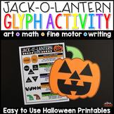 Halloween Jack-O'-Lantern Glyph Plus Math and Writing Printables