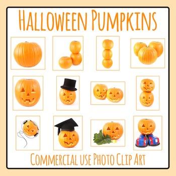 Halloween Jack O Lantern Pumpkins Photo Clip Art Set for Commercial Use