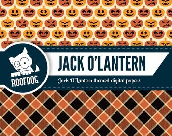 Halloween Jack O'Lantern digital papers | orange pumpkin patten