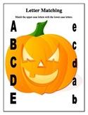 Halloween Jack O'Lantern ABC Letter Matching Worksheets