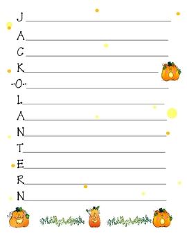 Halloween Jack o Lantern Acrostic Paper Paper