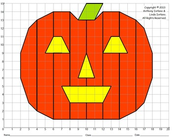 halloween jack o 39 lantern pumpkin coordinate graphing coordinate drawing. Black Bedroom Furniture Sets. Home Design Ideas