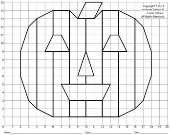 Halloween, Jack-o'-Lantern, Pumpkin, Coordinate Graphing, Coordinate Drawing