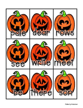 Halloween: Bat and Jack-o-Lantern Homophones Match