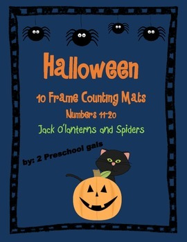 Halloween Jack o'lantern and Spider 10 Frame Counting Mats (11-20)