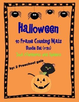 Halloween Jack o'lantern and Spider 10 Frame Counting Mats Bundle Set (1-20)