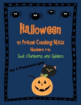 Halloween Jack o'lantern and Spider 10 Frame Counting Mats (1-10)