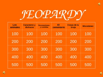 halloween jeopardy game spanish
