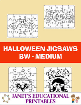 Halloween Jigsaws - Black and White - Medium