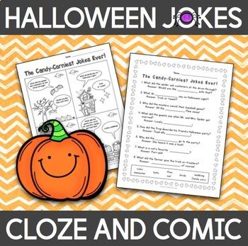 Halloween Jokes Cloze Activity and Comic - English
