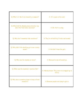 Halloween Jokes for Multiple Meaning Vocabulary and Idioms