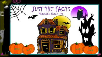 Halloween Just the Facts Multiplication Practice 2's - 10's