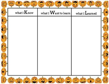 Halloween KWL chart