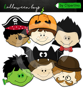 Halloween Kid Faces Clipart