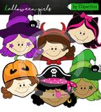 Halloween Kid Faces girl Clipart
