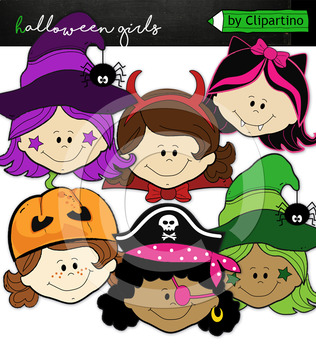 Halloween Kid Faces girl Clipart