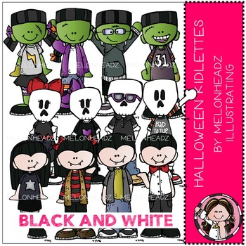 Melonheadz: Halloween clip art - Kidlettes - BLACK AND WHITE