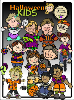 Halloween Kids Clipart (12 FREE Elements Included)