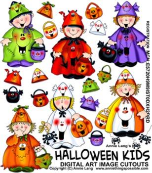 """Halloween Kids"" Character Image Clipart"