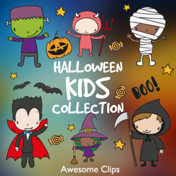 Halloween Kids Collection Clipart (Awesome Clips by Lollipop)