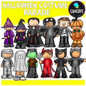 Halloween Costume Parade Clip Art Bundle {Educlips Clipart}