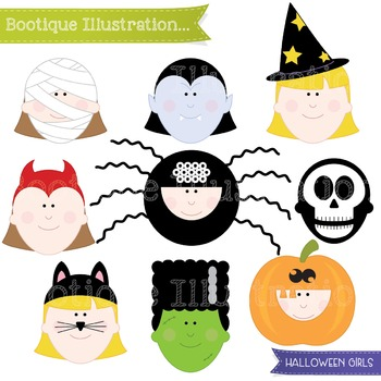 Halloween Kids Costumes Clip Art. Halloween Clip Art. Trick or Treat Clip Art