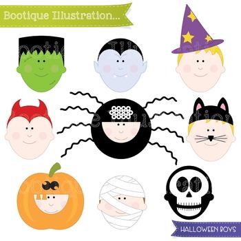 Halloween Kids Costumes Clip Art. Halloween Clip Art. Trick or Treat Clip Art.