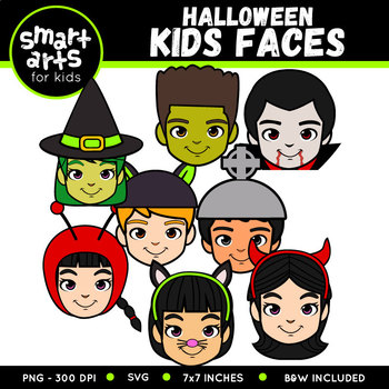 Halloween Kids Faces Clip Art