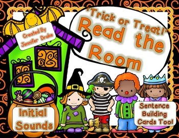 Halloween Kids Read the Room for Initial Sounds PLUS Sentence Building Cards!
