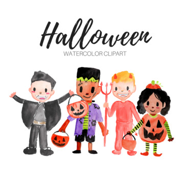 Halloween Kids Watercolor Clipart by Writelovely | TpT