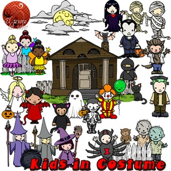 Halloween Kids in Costume - Clipart and line art Commercia