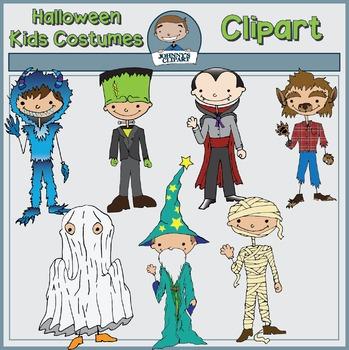 Halloween Kids in Costumes Clipart