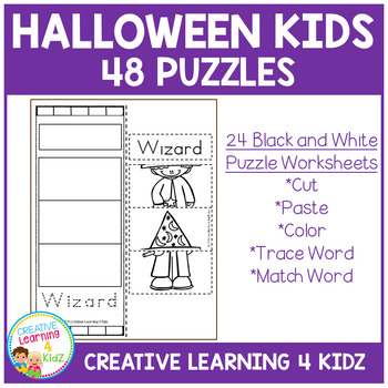Cut and Paste Fine Motor Puzzles: Halloween Kids