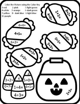 Halloween Kindergarten Color by Number Halloween Color by Number Addition Kinder