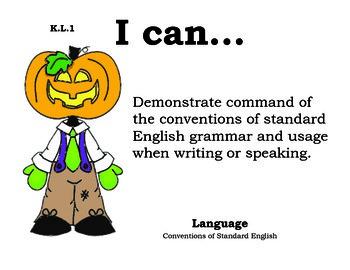 Halloween Kindergarten English Common core standards posters