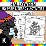 Halloween Literacy Worksheets No Prep (Kindergarten)