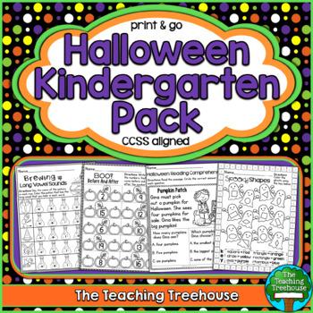 Halloween Kindergarten Pack ~ Print & Go, No Prep ~ CCSS Aligned