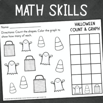 Halloween Math and Literacy No-Prep Printables for Kindergarten
