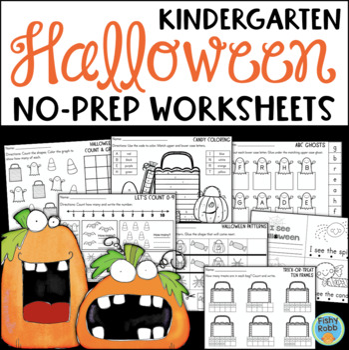 Halloween Math and Literacy No-Prep Printables for Kindergarten