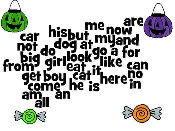 Halloween Kindergarten Sight Word Wordle