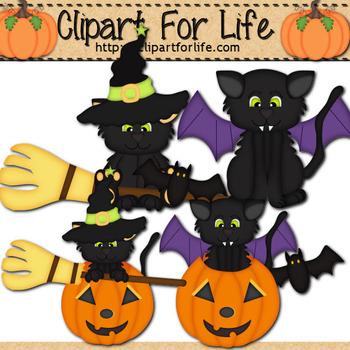 Halloween Kitties Clipart 2