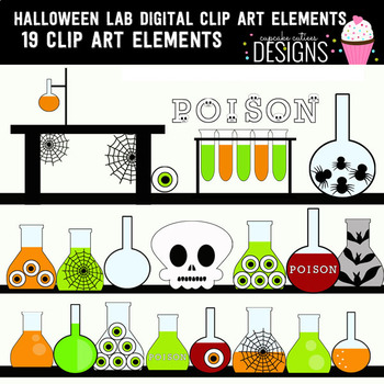Halloween Lab Digital Clip Art Elements
